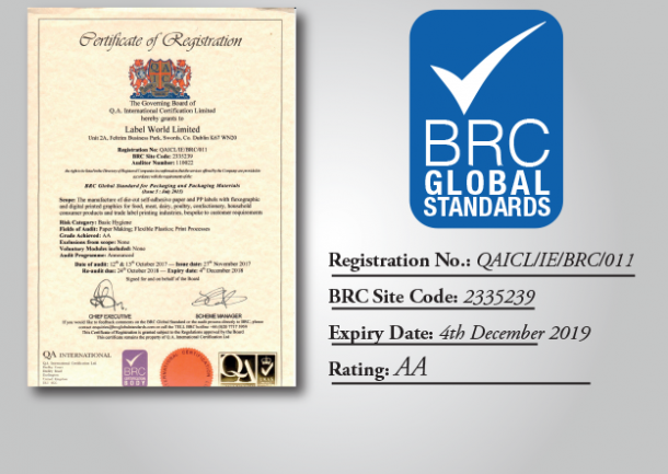 BRC Certified AA Rating