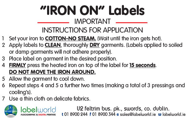 Media Library - Iron On instructions